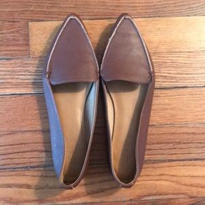 Brown leather Jcrew pointed loafers